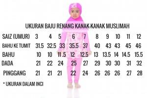 Ukuran Baju Renang Kanak Kanak Muslimah (1)